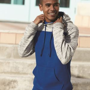 8676 Melange Fleece Colorblocked Hooded Pullover Thumbnail